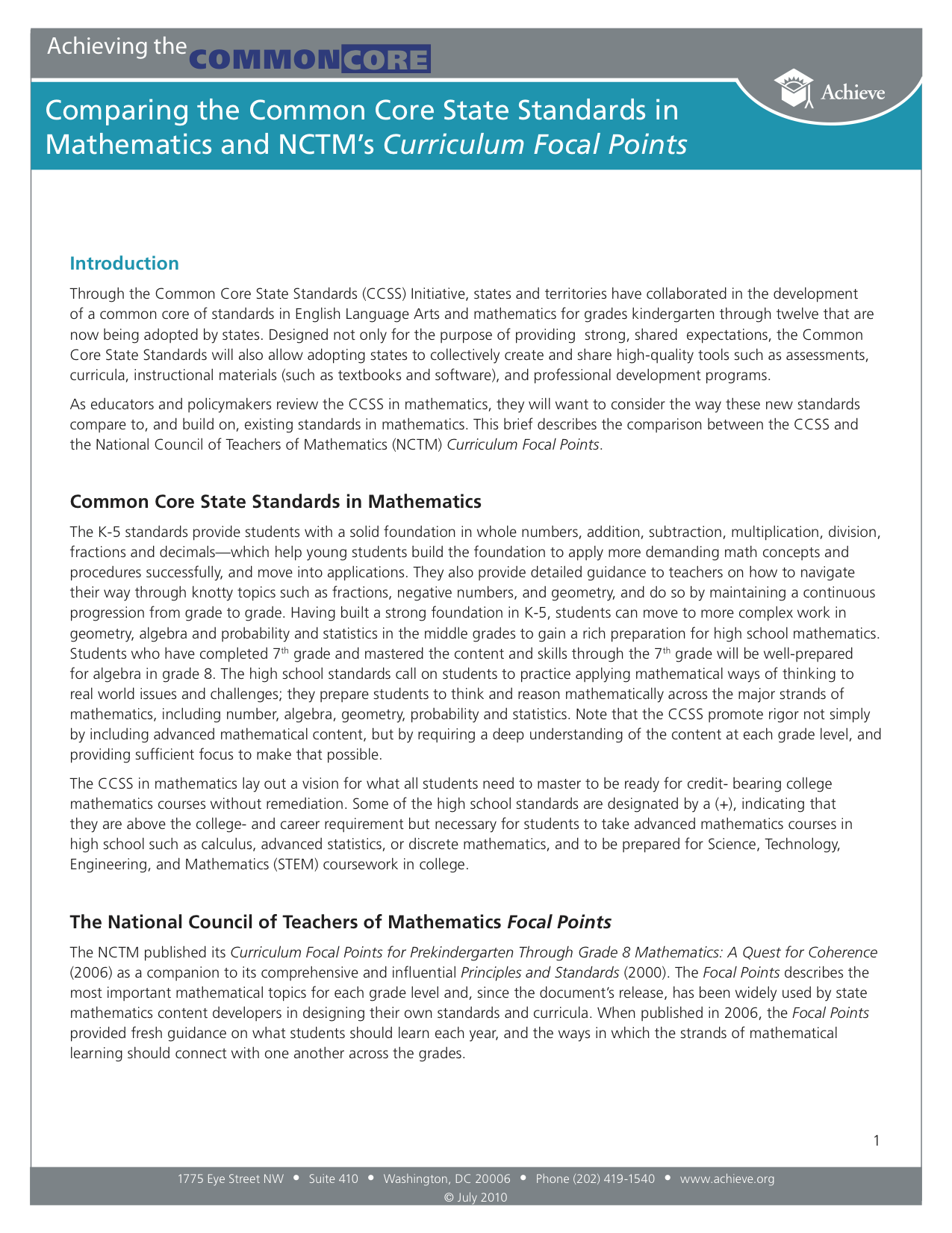 Cover of Comparing the Common Core State Standards in Mathematics and NCTM's Curriculum Focal Points