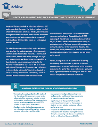 State Assessment Reviews: Evaluating Quality and Alignment